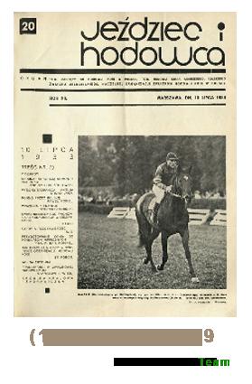 Jeździec i Hodowca, R. 12 (1933), Nry 20-29