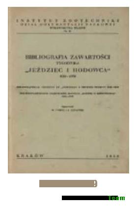 Bibliografia Zawartości - Jeździec i Hodowca 1922-1939